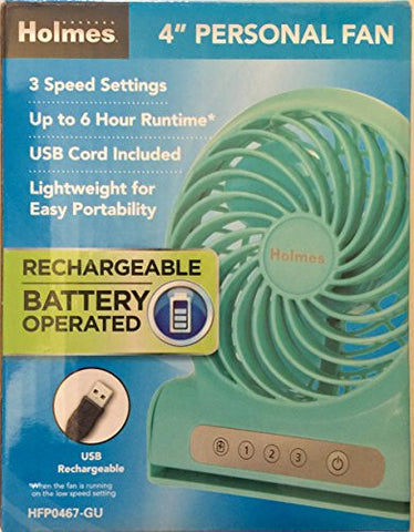 "Holmes 4"" Personal Fan Rechargeable Battery Operated - Teal"