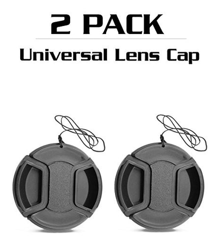 * 52mm * [ 2 Pack ] - Center Pinch Lens Cap Cover With Cable for CANON SLR Cameras (55mm)