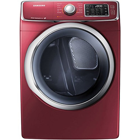 Samsung DV42H5400GF 7.5 Cu. Ft. Front-Load Gas Steam Dryer with Drying Rack, Merlot