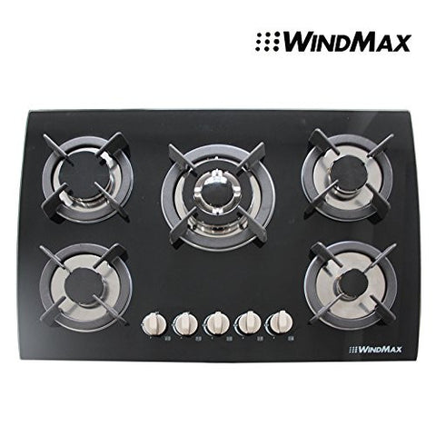 "30"" Tempered Glass Built-in Kitchen 5 Burner Oven Gas Cooktops Black"