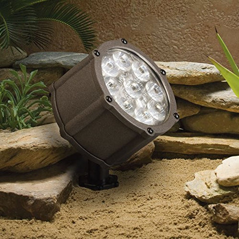 Kichler Lighting 15753AZT LED Accent Light 9-Light Low Voltage 60 Degree Wide Flood Light, Textured Architectural Bronze with Clear Tempered Glass by Kichler