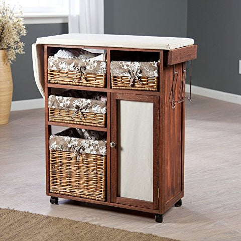 Premium Wood Ironing Board Center with Wicker Baskets