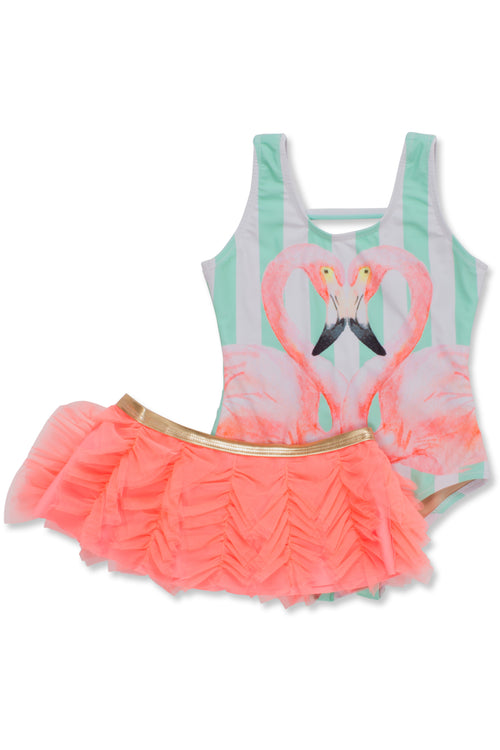 Flamingo Stripe 1-piece with Skirt