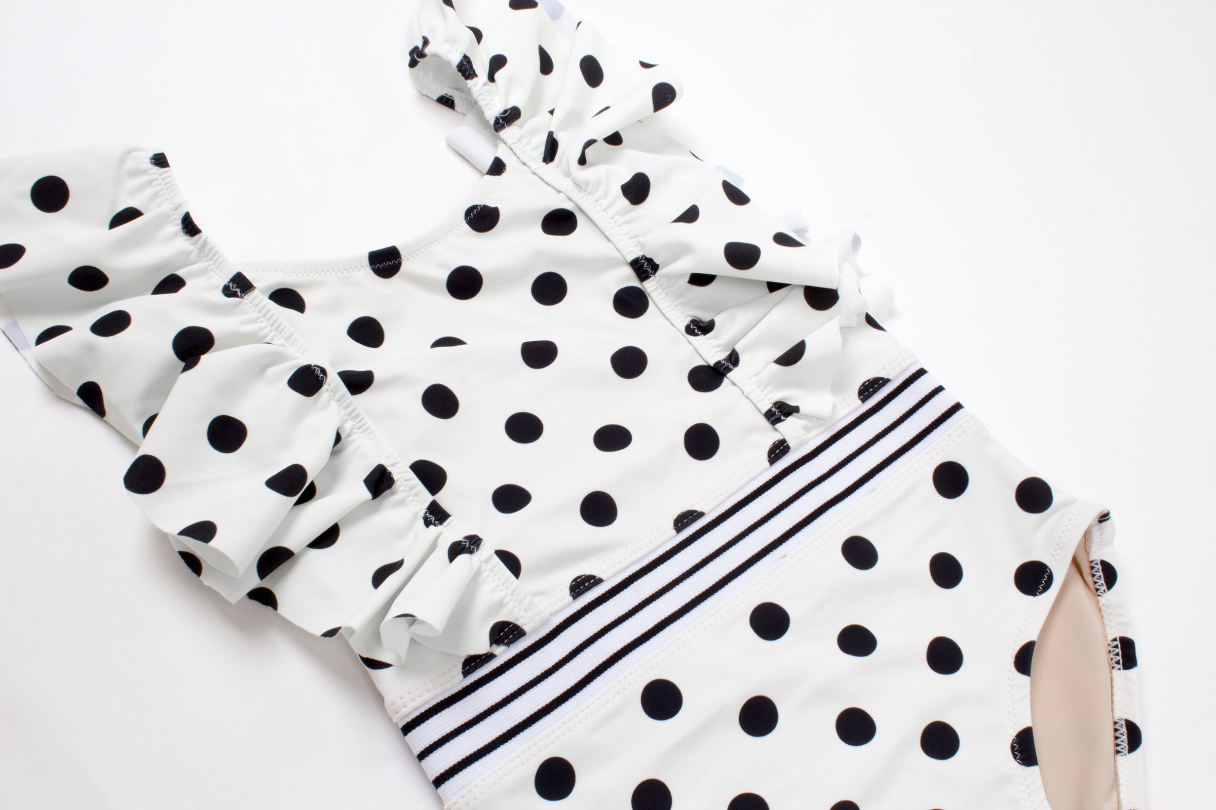 Polka Dot Ruffle Sleeve 1 Piece