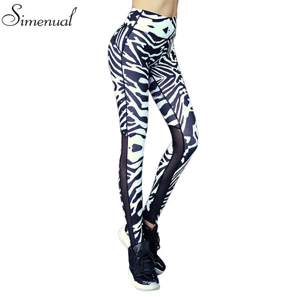 Fitness mesh splice leggings women zebra crossing athleisure elastic slim jeggings harajuku print female legging pants clothes