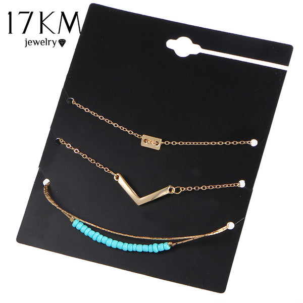 17KM 3Pcs/Set New Bijoux Letter V Beads Bracelet Set Fashion Vintage Infinity 8 Bracelets For Women Statement Gift Men Jewelry