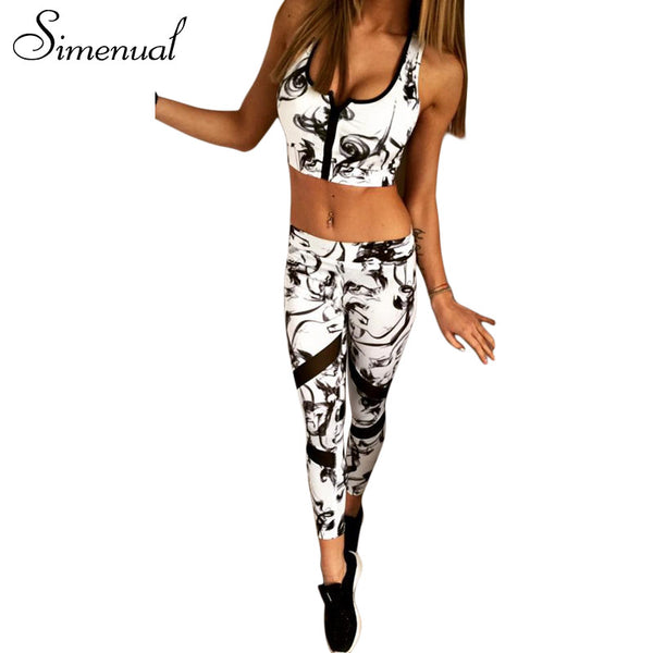 Simenual Vintage print mesh splice bra leggings tracksuits for women sportsuits 2017 summer zipper fitness elastic female suits