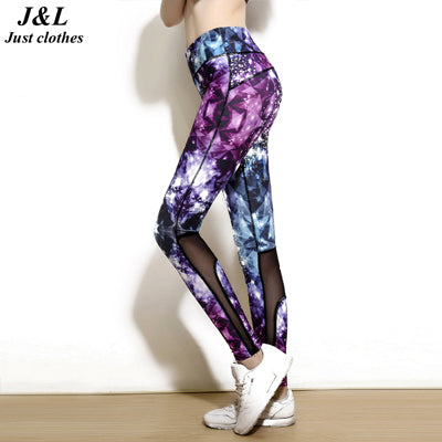 Fashion 2016 New Multicolor Diamond Star Print Mesh Patchwork Fitness Leggings Breathable Absorb Sweat Elastic Compression Pants