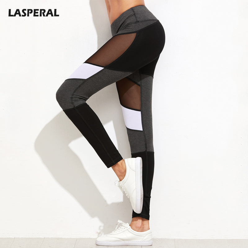 LASPERAL Fitness Leggings Women High Elasticity Patchwork Mesh Leggins Grey Black Gothic Pencil Pants Femme Jeggings 2017 New