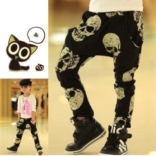 2016 Hot Sale Teen Boys Skeleton Printed Fashion Pants Kids Brand Joggers Children Black Trousers Leggings