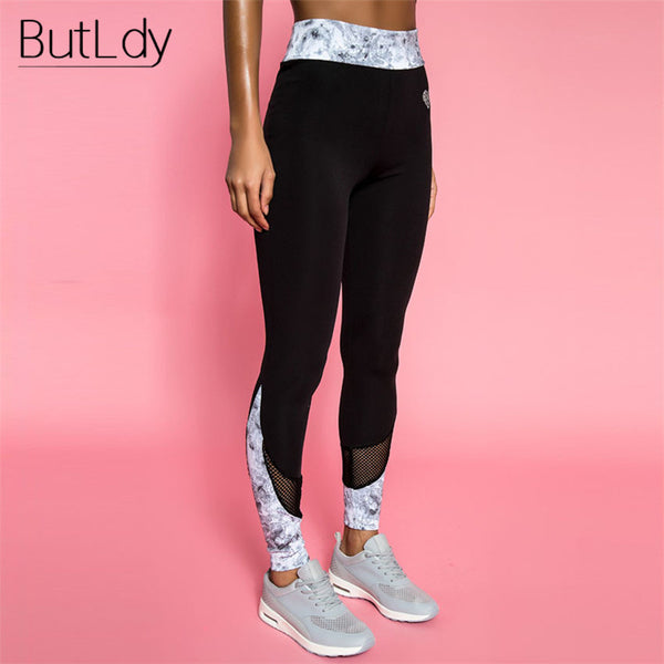 Patchwork Black Lace Print Mesh Leggings Women Push Up Fitness Legging Pants Leggins Workout Sportswear Legging Feminina Bottom