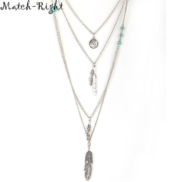 Match-Right Women Necklace Feather Statement Necklaces Pendants Vintage Jewelry Multi Layers Long Necklace Women  NL579