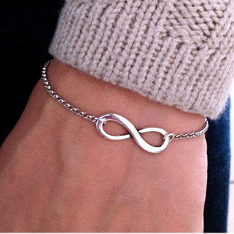 2016 Simple Fashion Silver Gold Chain Bracelets Infinity Bracelet Eight Shape Charm Bracelets Bangles For Women Pulseras