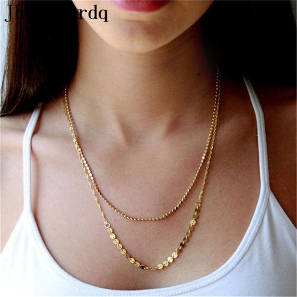 Discount jewelry store vintage double chain necklace women chain necklaces fashion jewerly 2017 collier femme layered neckless a