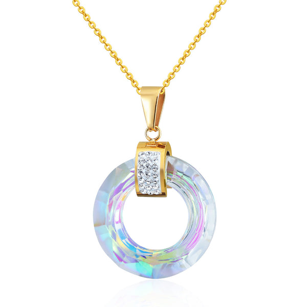 New Design Hot Multiple Sections Flicker Round Glass Pendant Necklace Woman Best Gift Jewelry Wholesale Love Necklace For Women