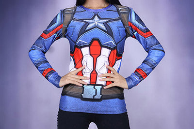 Lady  Captain America Winter Soldier T-shirt Women Long Sleeve Tee Compression Girls Fitness Crossfit Tops XXS-3XL