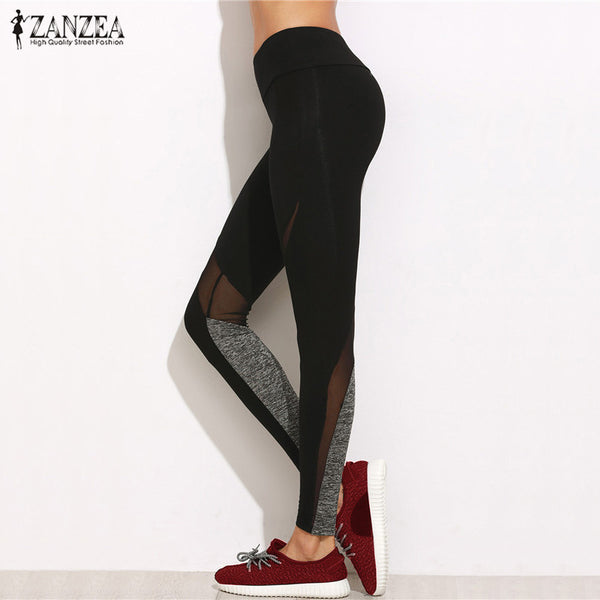ZANZEA Women Pants 2017 Summer Casual Leggings Fashion Plain Elastic Waist Mesh Patchwork Bodycon Trousers Plus Size S-5XL