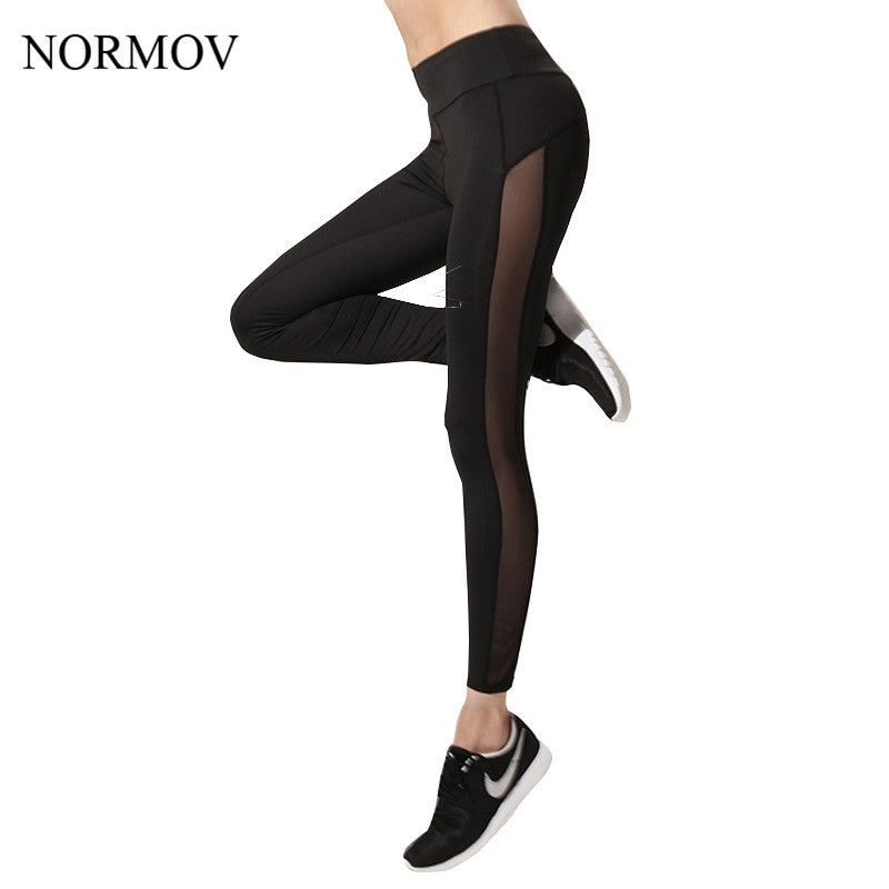 NORMOV Women Mesh Leggings Sexy High Waist Adventure Time Side Mesh Legging Women Workout Black Spandex Quick Dry Leggins S-XL