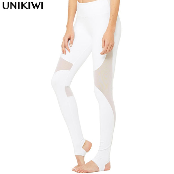 Elegant Women's White Mesh Leggings.Joggers Fitness Leggins Pants.Ladies Elastic Slim Gymnasium Legging Jegging.Workout Trouser