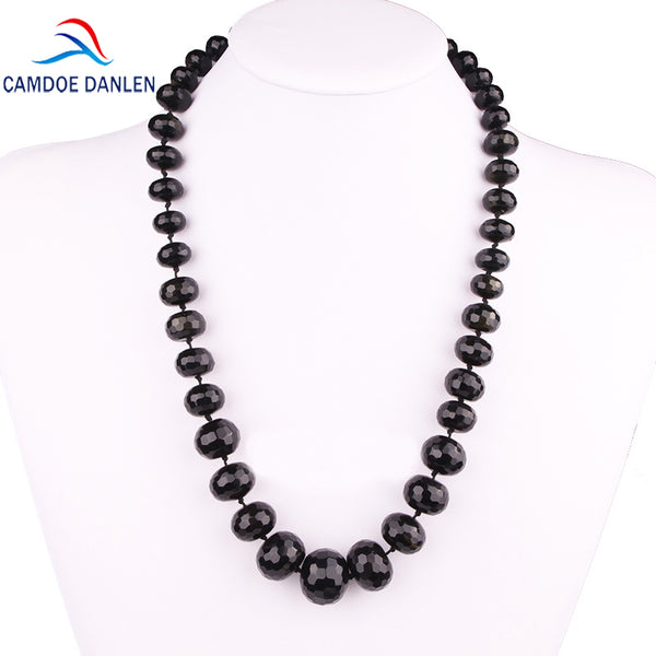 Nine Design Natural Stone Black Onyx Faceted Abacus Bead Trendy Maxi Necklace Long Rope Chain Fashion Women Jewelry Accessories