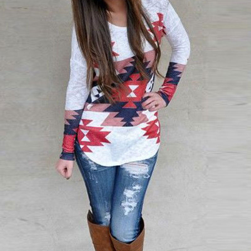 Women Fashion Charming Stylish Tee Printed Long Sleeve Irregular O Neck Casual Tops T-Shirts Multicolor