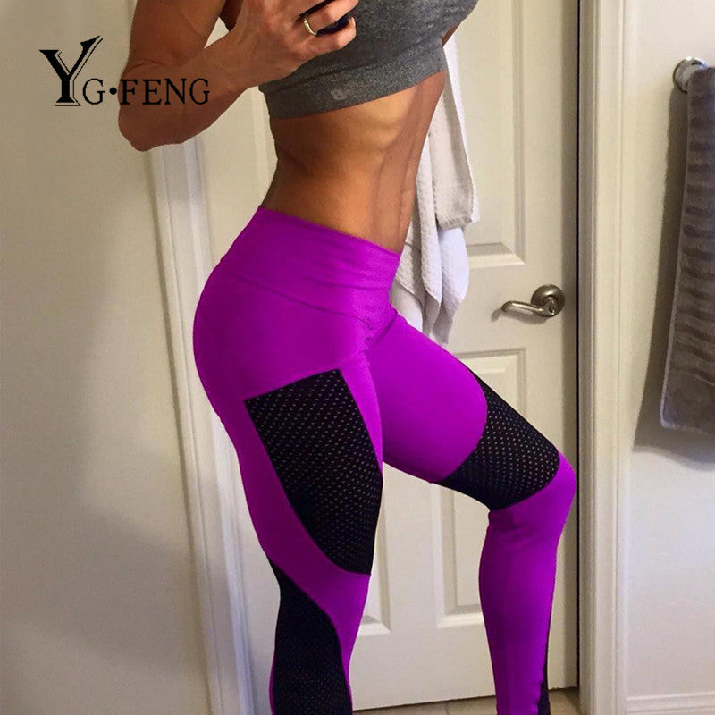 New Sexy Push Up Mesh Leggings For Women Elastic Patchwork Workout Legging Pants 2017 Fashion Ladies Fitness Leggings Leggins