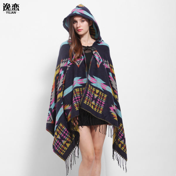 YI LIAN Brand New Winter Tassel Poncho Fashion Print Cashmere Women Sweater Coat Black Color Designer Geometric Shawl LA113
