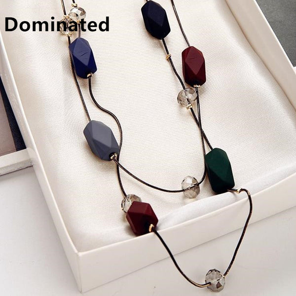 Dominated Women Simple Elegance Necklace Accessories Pendant Long Double Sweater Chain