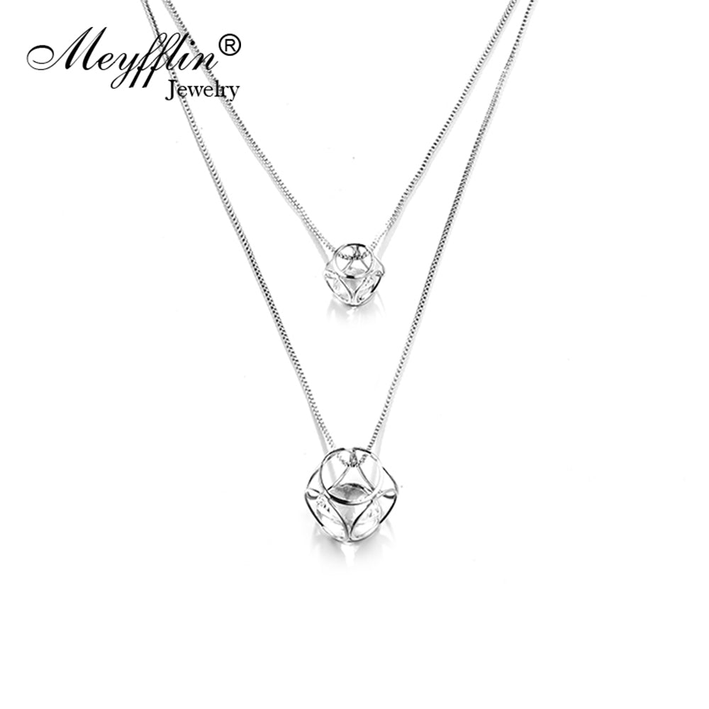 Meyfflin Fashion Long Necklace Women Jewelry Vintage DoubleCubic Crystal Maxi Necklaces & Pendants Sweater Chain Collier