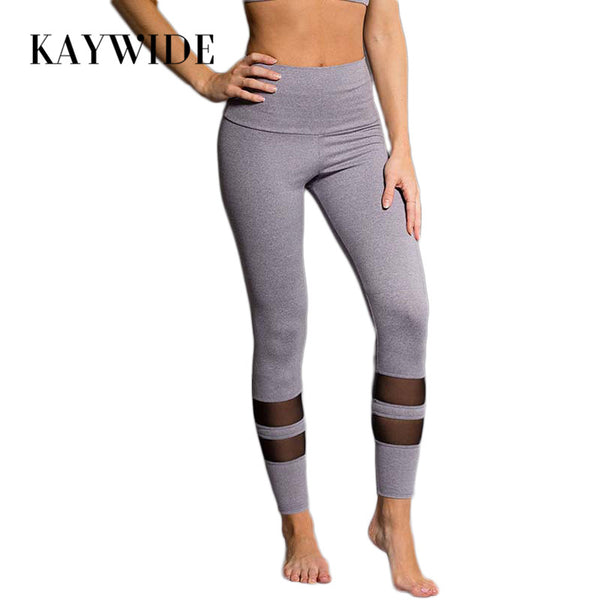 KAYWIDE 2017 Women Sporting Pants Series High Waist Mesh Patchwork Leggings New Style Fitness Stretch Trousers For Woman ZC1741