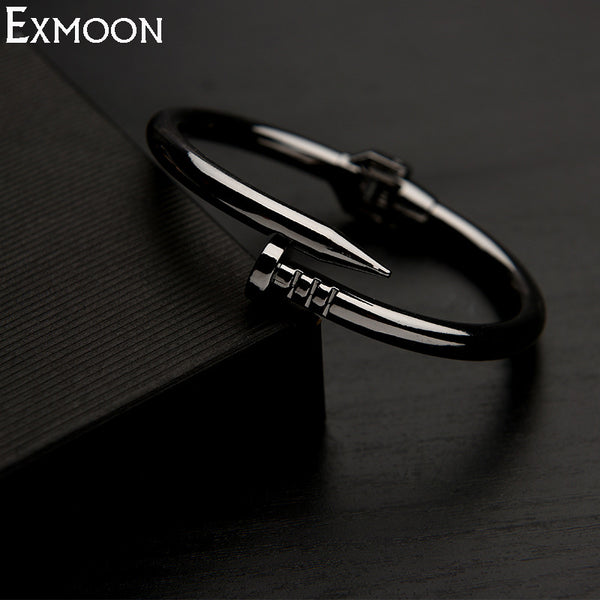 EX-MOON Women Titanium Stainless Steel Spring Nail Bracelets&Bangles Black Screw Cuff Bangle Love Bracelets Party Jewelry