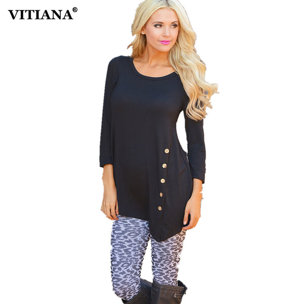 VITIANA Women Autumn Plus size Casual Shirts Black White Solid Long sleeve Cotton T Shirt Female Elegant Button Tee Tops 2XL 3XL
