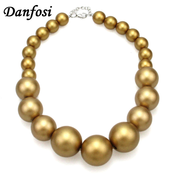 Danfosi Women Imitation Pearl Beads Chain Maxi Necklace Fashion Jewelry Statament Choker Necklace For Dress Accessories