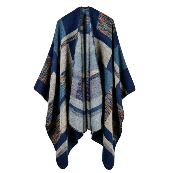 2017 new brand women poncho cashmere caps fashion plaid big size thick warm scarf winter ponchos Blanket knit echarpe pashmina