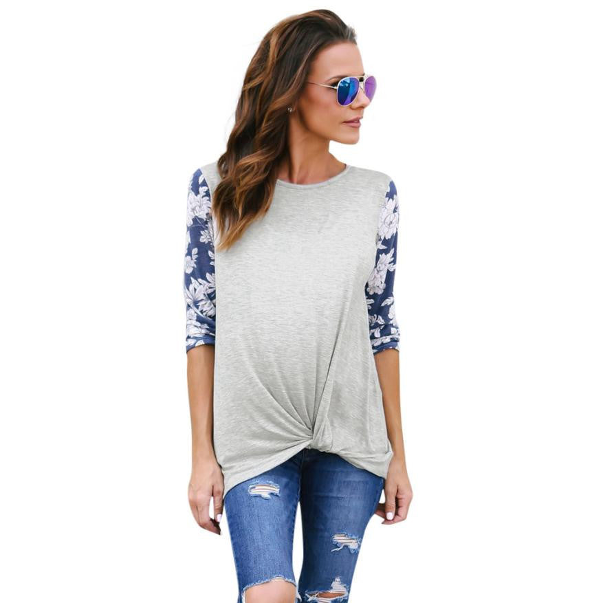 Fashion Patchwork T-Shirt Women Floral Print Long Sleeve O Neck Soft Cotton Tops camisetas feminina Casual tee shirts