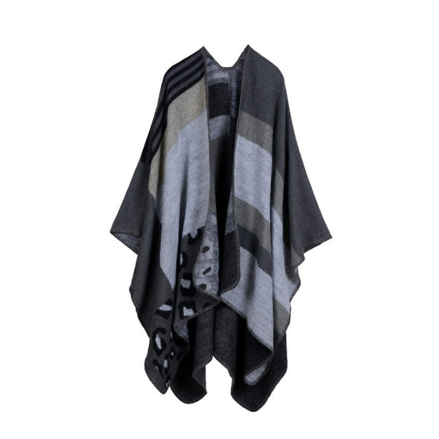 [AETRENDS] Thicken Winter Cashmere Feel Poncho Blanket Women Striped Warm Ponchos and Capes Z-3152