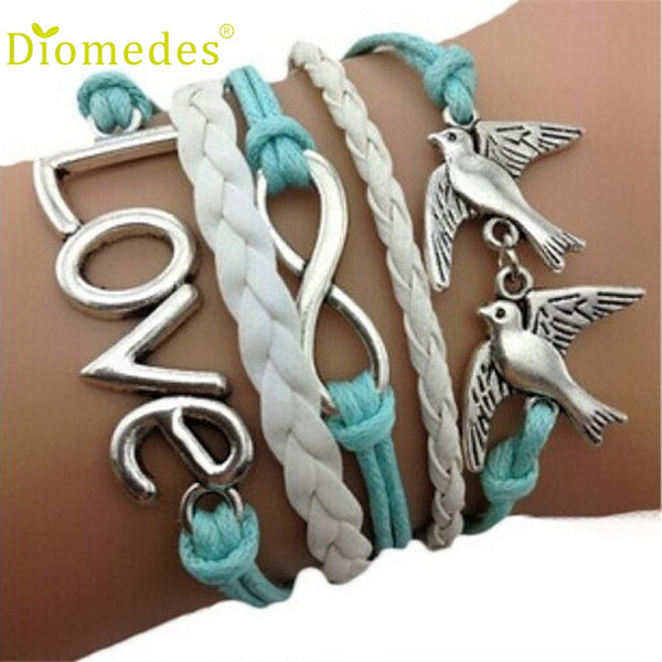 Diomedes Gussy Life wholesale Free Shipping Diomedes Handmade Adjustable Love Multilayer Bracelet Wristband Dec628