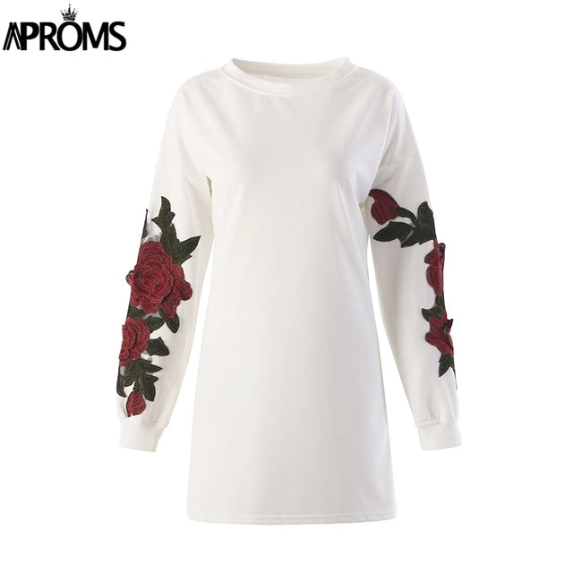 Aproms Red Flower Embroidery Tunic Dress Women Elegant Long Sleeve Warm Winter Hoodie Dress Casual Knitted Sweashirt Dress