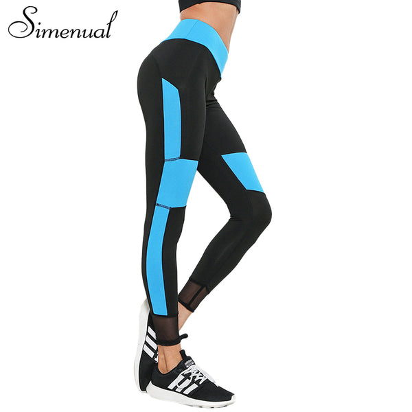Simenual Mesh patchwork fitness legging bodybuilding push up athleisure leggings sportswear for women elastic female pants sale