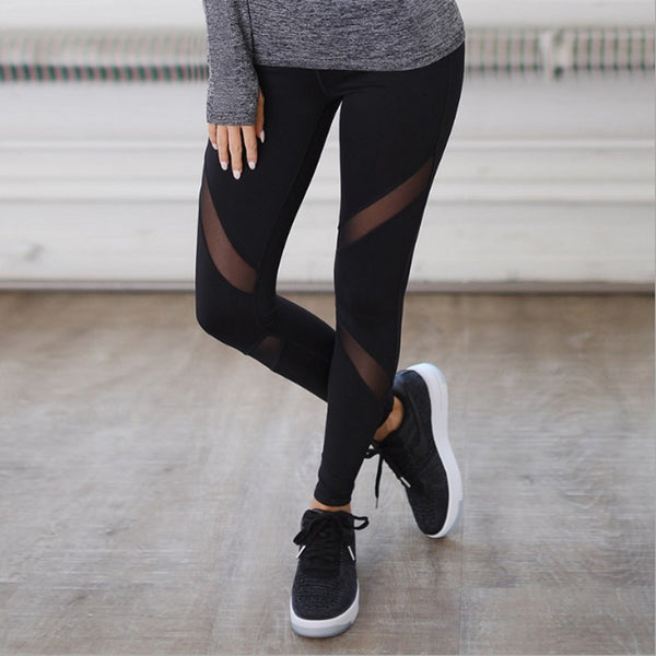 Women Casual Leggings Fitness Winter Jeggings New Arrival Ladies Plain Elastic Waist Color Pants Block Mesh Insert Leggings 6012
