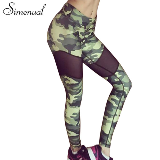 Simenual Camouflage mesh patchwork leggings sportswear for women athleisure harajuku push up fitness legging female pants sale