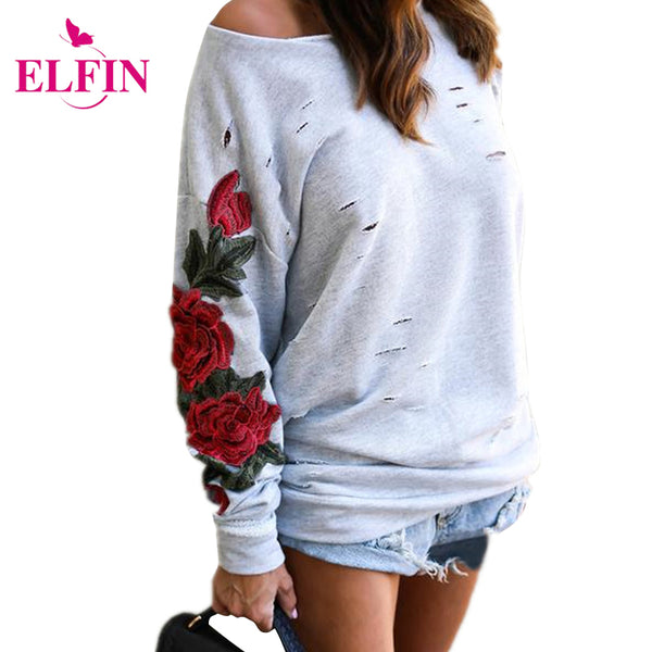 Women Hoodies Sweatshirt Long Sleeve Off Shoulder Embroidery Harajuku Pullover Tops WS2768R