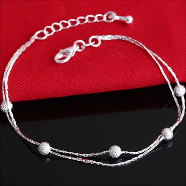 2017 Hot Sale Silver color Fashion Bracelet Bead Bracelets for Women Silver color Friendship Bracelets Fine Jewelry