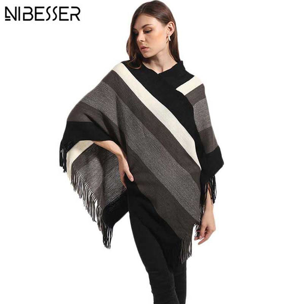NIBESSER 2017 Winter Sweater Women Poncho Knitted Sweater Female Pullover Women Long Warm Thick Women Sweaters And Pullovers