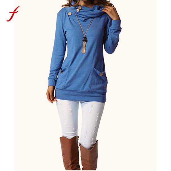 feitong Womens Button Cowl Neck Casual Slim Tunic Tops Pockets Long Sleeve coats womens hoodies pullover moletom feminina Tops