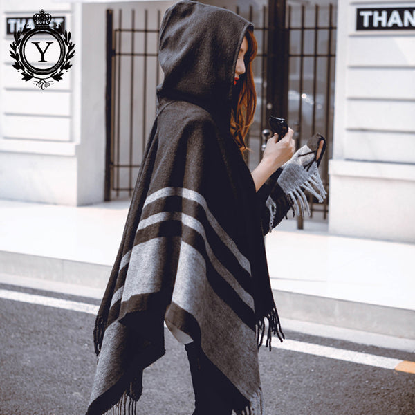 COUTUDI 2017 Winter Hooded Ponchos and Capes Women's Scarves Striped Tassel Poncho Scarf Brand Cashmere Pashmina Scarf Shawls