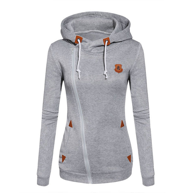 XUANSHOW 2017 Women Fashion Fleeces Sweatshirts Hooded Candy Colors Solid Sweatshirt Long Sleeve Zip Up Clothing Sudaderas Mujer