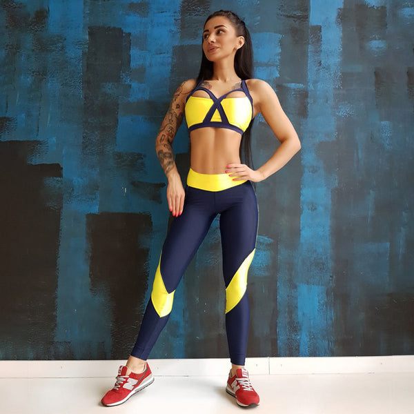 Cross Yellow Patchwork Tracksuit Crop Top Tanks And Leggings Sporting Skinny Clothing 2017 New 2 Pieces Hollow Women Clothing