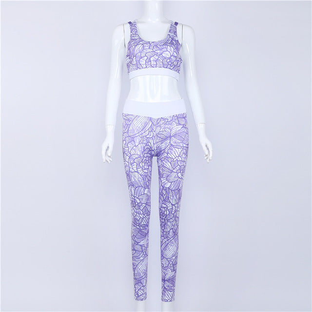 Summer Print Patchwork Tracksuit Crop Top Tanks And Leggings Sporting Skinny Clothing 2017 New 2 Pieces Hollow Women Clothing
