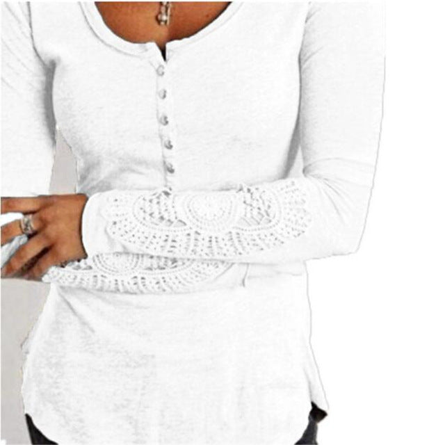 Tee Shirt Femme Spring Lace Long Sleeve t-shirt Women t shirt Womens Tops Fashion Poleras De Mujer Solid Camisetas Mujer